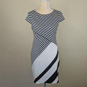 Sandra Darren Black/White Striped Knit Dress